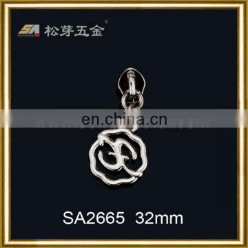 Metal zipper puller custom metal zipper pulls hollow out zipper slider for bags