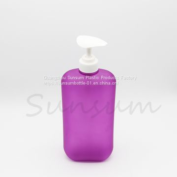 1000ml flat pet plastic shampoo bottle with pump