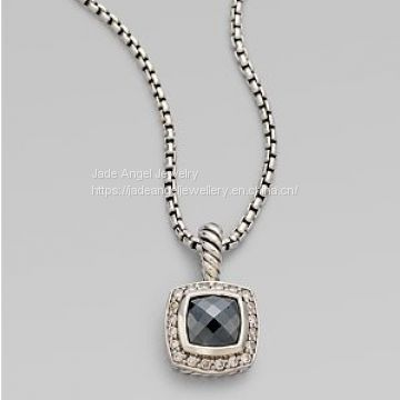 Sterling Silver 7mm Petite Albion Hematite Pendant Necklace