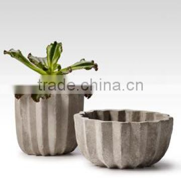 Cement Pleated Pots.