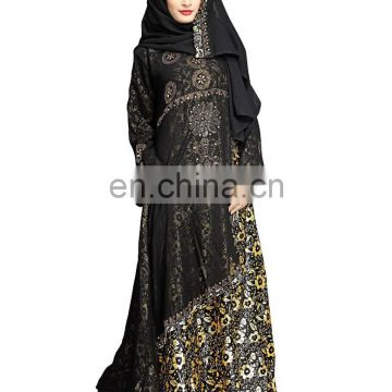 Women's 2017 Dubai Style High Quality Printed Burkha Abaya For Casual Arabic Islamic Wear (Printed Abaya)