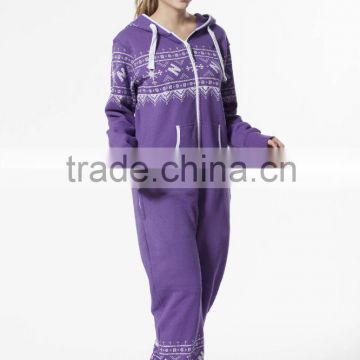Wholesale Nordic Way Unisex Printed One Piece Jumpsuit Hoody Onesie