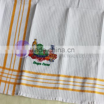 100% cotton cheap white embroidered dish towel