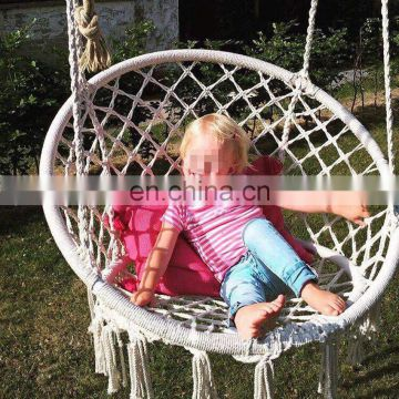 Handmade Hanging Cotton Beige Macrame Hammock Chair Swing Relax In Home
