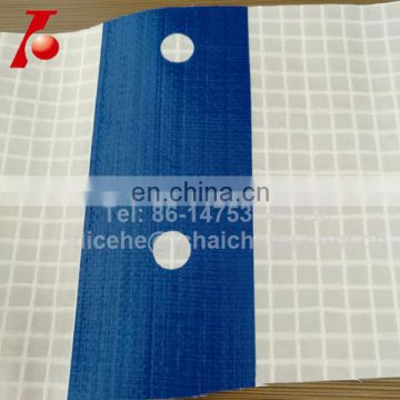 clear color reinforced film for construction scaffolding sheet with blue or red bands