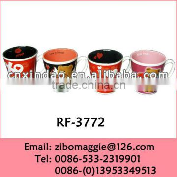 12oz V Shape Beautiful Valentine's Print Porcelain Personalized Drinking Cups for Promotion Coffee Cups