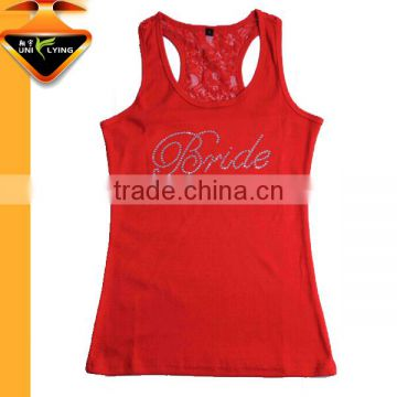 Wholesale Black Tank Tops Custom Rhinestone And Printing Design For Women