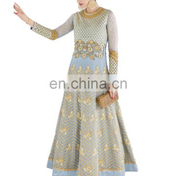 2017 Stylish Party Wear Heavy Embroidery Anarkali Gown Style Semi-Stitched Dress Material Suits