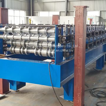 PPGI Steel Tile and Trapezoidal Sheet Double Layer Forming Dual Level Roll Forming Machine