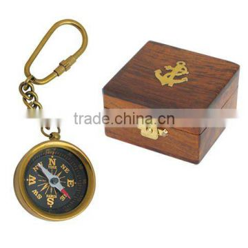 Compass key chain made in brass with wooden Box
