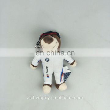 hot sale brand printed logo teddy bear keychain for car promotion