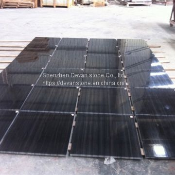 Black wood marble slab polished marble tiles on sale
