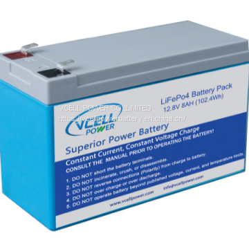 LiFePo4 12.8V 8Ah  Battery Pack With BMS And ABS Case For Replacement Of Lead Acid Battery