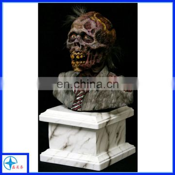 Walking Dead action zombie figure bust, resin zombie sculpture bust