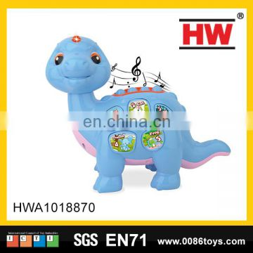 Good sale 27cm blue color music cartoon animal Dinosaur baby boy toy with light