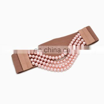 yiwu factory wholesale woman ladies fashion elastic corset belt with pearl
