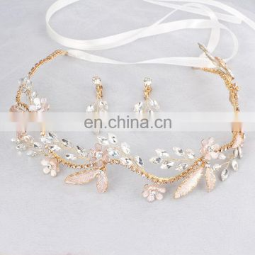 Wedding Headdress Delicate Marquise Stones Bridal Hair Vine and Earring Set Crystal Headbands Floral Prom Dress Decor Headpiece