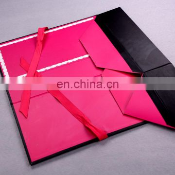 red collapsible customized printed logo ribbon closure swimwear packaging box