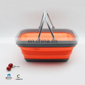 2018 Multi-functional Large Foldable Shopping Basket Collapsible Fruit Vegetables Hand Basket
