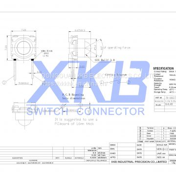 Pin Type 7.2*7.2 130gf Stroke Low-profile Smt 0.25 Height 6.65 Tact Switch
