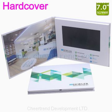 Media promotion lcd video brochure card hardcover A5 video brochure greeting card with 7 lcd screen