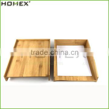 Stackable bamboo paper storage tray Homex-BSCI