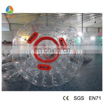 transparant body zorb ball for bowling with red handles inflatable zorb balls for kids