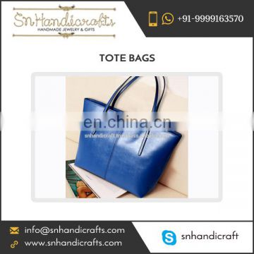 Blue Leather Tote Bag with Spacious Compartment