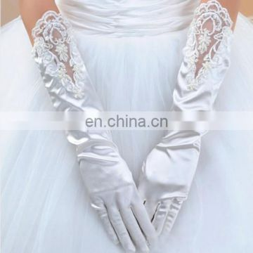 White &Ivory Long Stretch Full Finger Satin Wedding Glove lace Trim Pearl Beaded & Sequined Decoration Bridal Gloves For Women