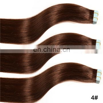 Factory hot sale tape in hair remy indian/european/brazilian/peruvian/malaysian hair silky straight skin hair extensions