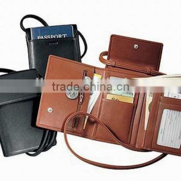 New arrival trifold leather neck wallet / travel document wallet