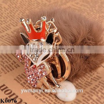 2016 New Rhinestone Animal Real Rabbit Fur Ball Fluffy Keychain Car Key Chain Ring Pendant For Bag Charm Alloy Keychain K0076                                                                         Quality Choice
