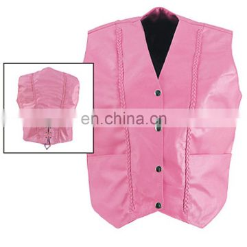 HMB-3141B LEATHER VEST BRAIDS STYLE PINK COAT VESTS