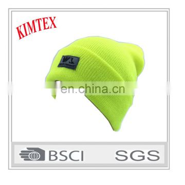 custom Yellow 3M Thermal Acrylic safety knitted winter hat