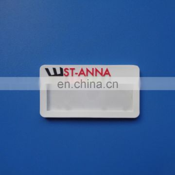 custom embossed brand company logo soft PVC rubber high quality recycle insert paper card staff name badge tag