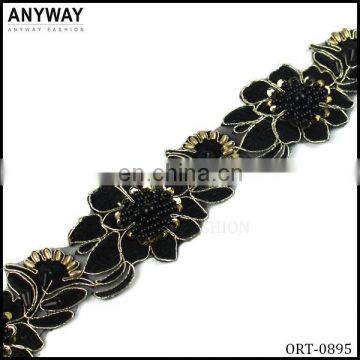 Fancy chiffon flower trim wholesale ,ORT-0895