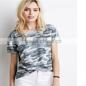 2015 hot sale ladies wear short sleeves camo T-Shirt round neck tee