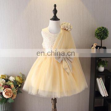 Champagne Vintage Tulle Toddler Dress Sequin Flower Girl Dress Wedding Sleeveless Princess Costume With Bow