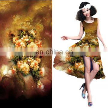 Hot Sale Polyester Floral Satin Weave Chiffon Fabric For Garment