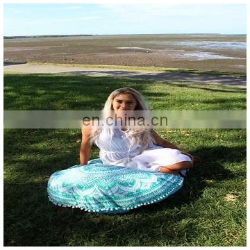 30'' Handmade Round Cushion Cover Decorative Throw Mandala Pouf Cover Indian Cotton Pillow Cases SSTH54