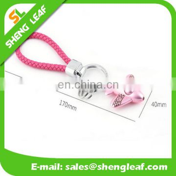 creative pink airplane shaped metal keychain for girls