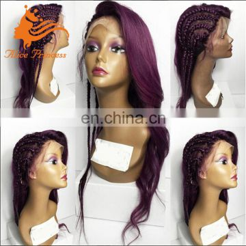 New Arrival Style Purple Lace Front Wig Half Silky Straight Rapunael Lace Wig Virgin Brazilian Human Hair Side Part Rasta Wig