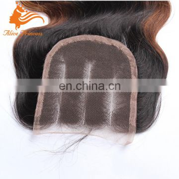 Ombre Lace Closure With Baby Hair Brazilian Hair Closure Bleached Knots Three Tone Color 1b/4/27 Body Wave 3 Way Part Closure