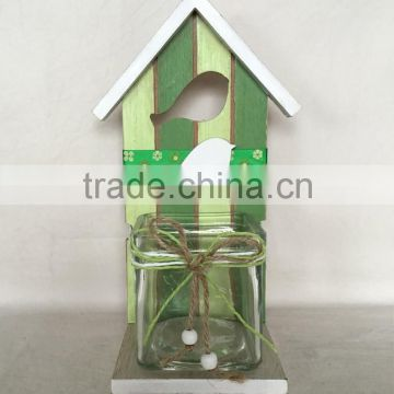 Easter Wood deco bird with house shape on topdesk decoration for home decorative candle holder