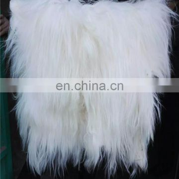 long hair real goat fur blanket fur skin plate for garment and rugs