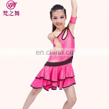 Exciting shiny glittery fabric professional children kids latin dance skirt with arm bands for girls ET-109