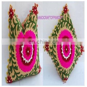 hippy 2 Pcs Lot Vintage Suzani Cushion Cover Embroidered 16x16'' Indian Pillow Case Decorative