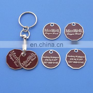 Canada shopping cart token coin keyring with two coins