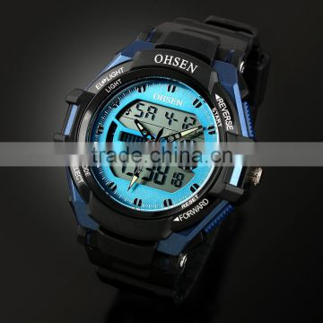 Hot Sell Men's Rubber Strap Black Analog Digital Silicone Sport Boy's Watch WS080/081