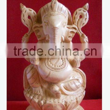 Wooden Handicraft Wood Carving Vedic God Ganpati Rich Arts And